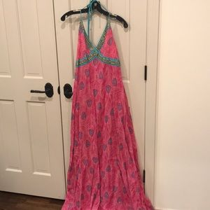 VIX Swim Cover Up Maxi Halter Dress, size L